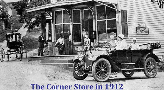 1912 photo of a car in front of the corner store in waterford va