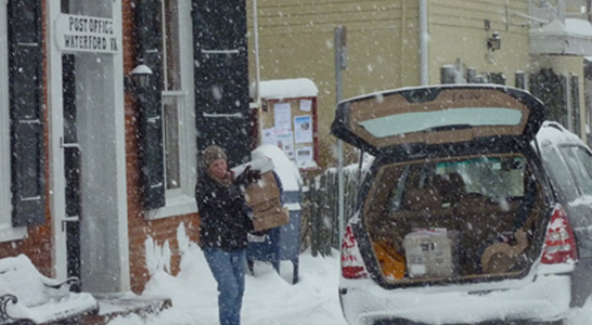 waterford post office mail delivery in snow