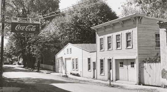 old photo of the tin shop in the village of Waterford Virginia