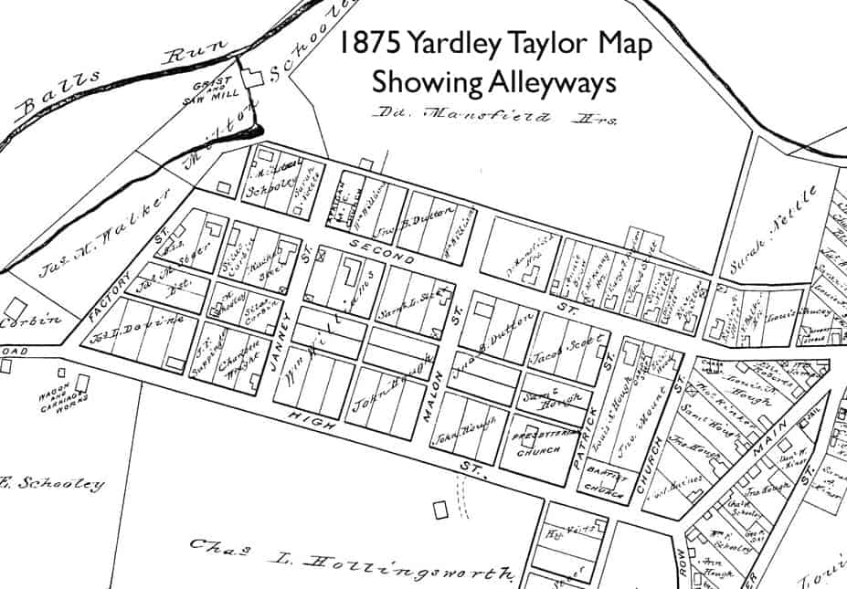 Yardley Taylor map showing Waterford VA alleys