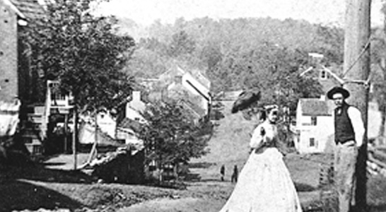 top of Main Street in the 1800s in the village of Waterford Virginia