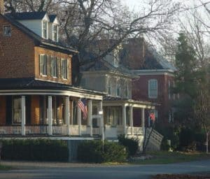 Houses on Second Street in Waterford Virginia