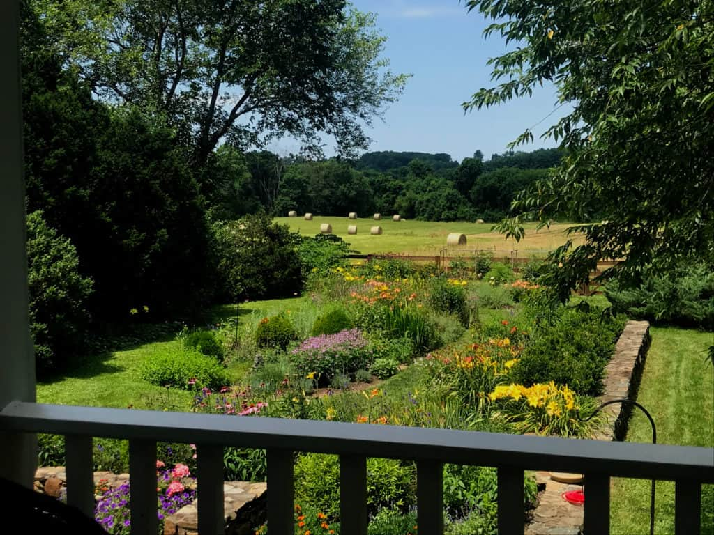 Garden with farm fields in Waterford Virginia
