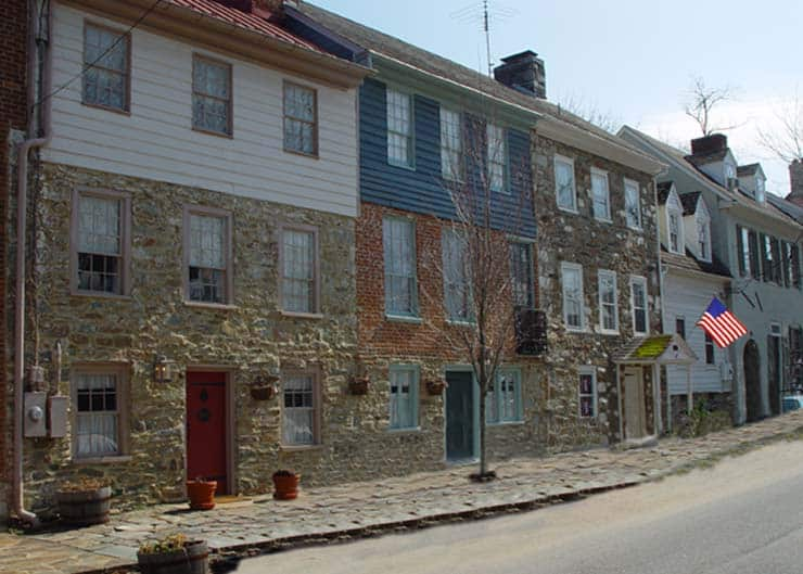 Row houses in spring in Waterford Virginia