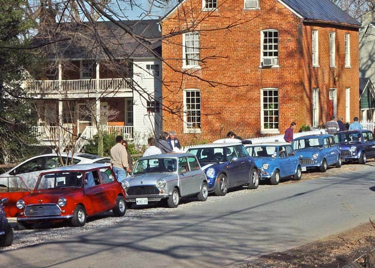 Mini Cooper cars on Second Street in the spring in Waterford VA