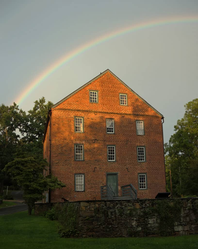 Rainbow over the Old Mill in Waterford Virginia in Loudoun County