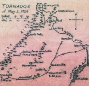 Map of the 1929 tornado path in Loudoun County